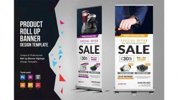 دانلود فایل لایه باز بنر حراج و فروش فوق العاده Product Rollup Banner Signage