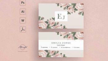 دانلود فایل لایه باز کارت ویزیت با طرح گل رز Roses business card template