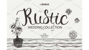 دانلود وکتور کارت دعوت عروسی RUSTIC wedding collection
