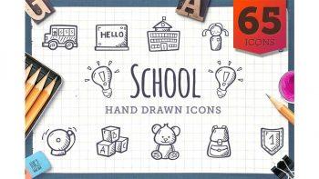 دانلود آیکون مدرسه با طراحی دستی School – Hand Drawn Icons