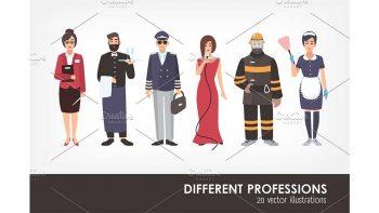 دانلود کاراکتر کارتونی مشاغل مختلف Set of different people profession
