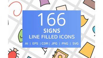 دانلود آیکون خطی علائم و نشانه ها Signs Filled Line Icons