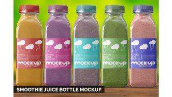 دانلود موکاپ شیشه آب میوه Smoothie Juice Bottle Mockup