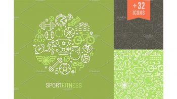 دانلود پترن و آیکون ورزشی Sport and fitness icons and patterns