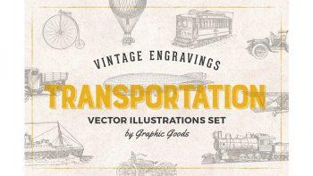 دانلود وکتور وسایل نقلیه قدیمی Transportation Engravings Set
