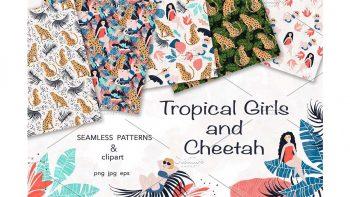 دانلود پترن و کلیپ آرت دخترانه Tropical Girls and Cheetah