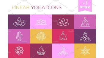 دانلود آیکون یوگا با طراحی محیطی Vector linear yoga icons