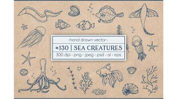 دانلود وکتور جانوران دریایی Vector sea creatures