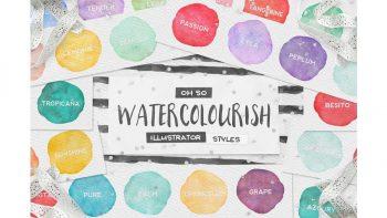دانلود استایل آماده ایلوستریتور آبرنگی Watercolor AI Styles + EXTRAS