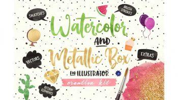 دانلود ابزار طراحی آبرنگی Watercolor and Metallic Box