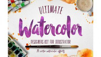 دانلود افکت آبرنگ برای ایلوستریتور Watercolor KIT for Illustrator