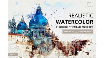 دانلود افکت لایه باز تبدیل تصاویر به نقاشی آبرنگی Watercolor Photoshop Mock-ups