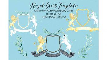 دانلود فایل لایه باز کارت دعوت با فریم سلطنتی Watercolor Royal Crest Template