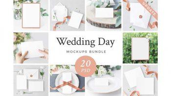 دانلود موکاپ کارت عروسی Wedding Day Mockups Bundle