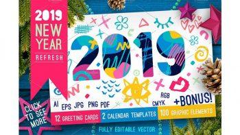 دانلود وکتور سال نو میلادی 2019 New Year Christmas White Bundle
