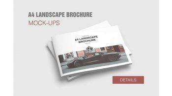 دانلود موکاپ بروشور A4 Landscape Brochure Mockup