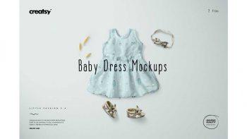 دانلود موکاپ لباس نوزادی دخترانه Baby Dress Mockup Set 1