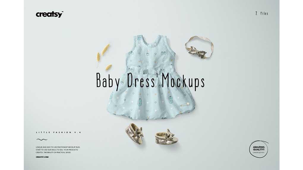 موکاپ لباس نوزادی دخترانه