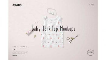 دانلود موکاپ لباس نوزاد Baby Tank Top Mockup Set