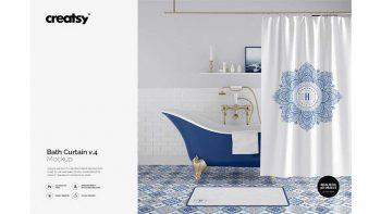دانلود موکاپ پرده حمام Bath Curtain Mockup 4