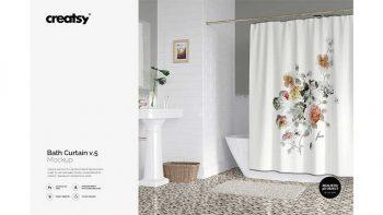 دانلود موکاپ پرده حمام Bath Curtain Mockup v.5