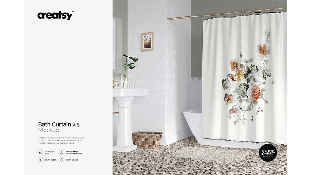 موکاپ پرده حمام Bath Curtain Mockup v.5
