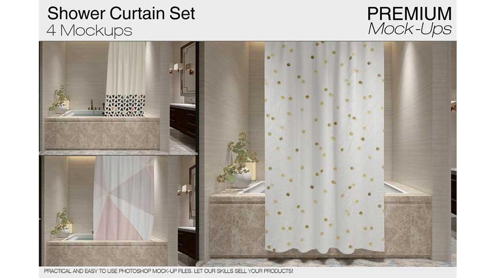 موکاپ پرده حمام Bath Curtain Mockups