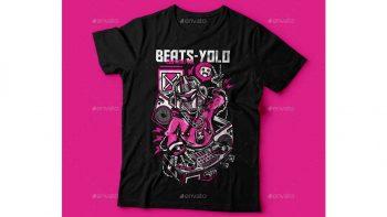 دانلود وکتور تیشرت Beats-Yolo T-Shirt Design