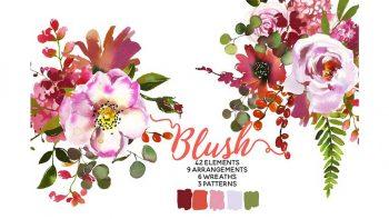 دانلود کلیپ آرت گل Blush Pink Coral Watercolor Flowers