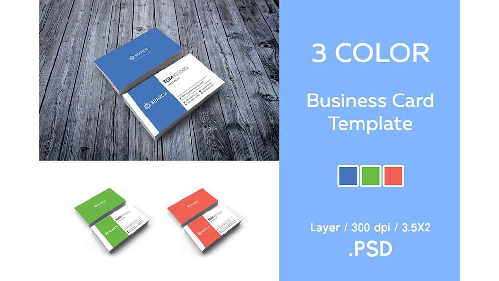 فایل لایه باز کارت ویزیت Business Card Template / 3 Color