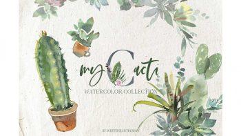 دانلود کلیپ آرت آبرنگی کاکتوس Cacti Watercolor Cactuses Clipart