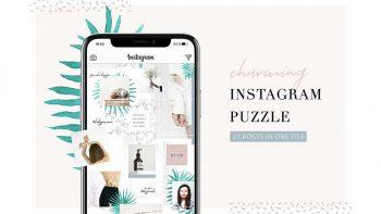 دانلود فایل لایه باز پست پازلی اینستاگرام Charming Instagram Puzzle Template