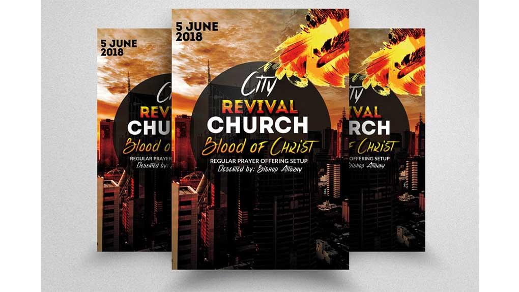 فایل لایه باز آگهی City Revival Church Flyers