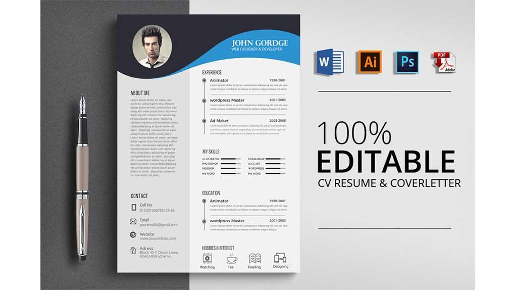 فایل لایه باز رزومه Clean Ms Word CV Resume Template