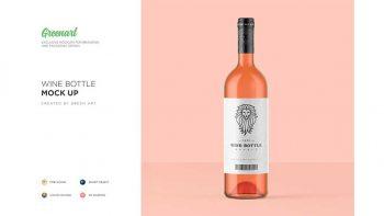 دانلود موکاپ بطری شیشه ای Clear Glass Wine Bottle Mockup