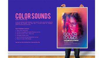 دانلود فایل لایه باز پوستر Color Sounds Party Flyer