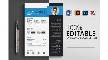 دانلود فایل لایه باز رزومه Creative Word CV Resume