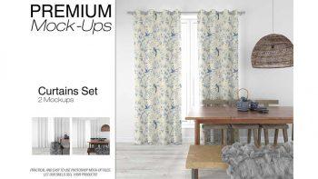 دانلود موکاپ پرده Curtains Mockup Set 3