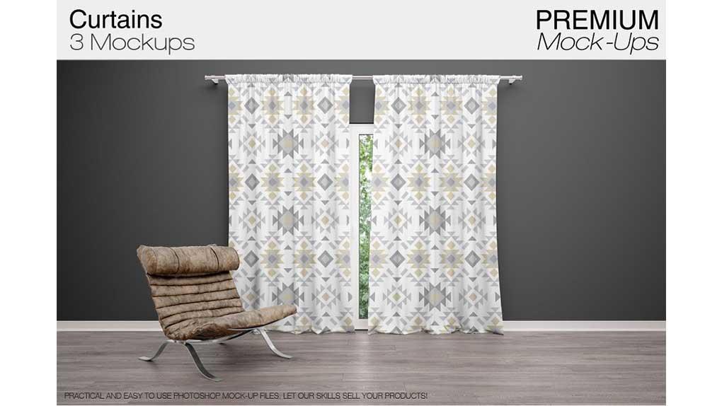 موکاپ پرده Curtains Mockup