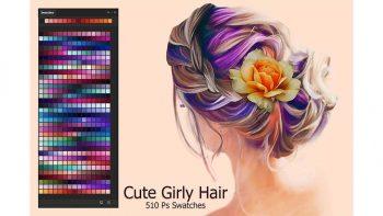 دانلود پالت رنگ Cute Girly Hair Ps Swatches