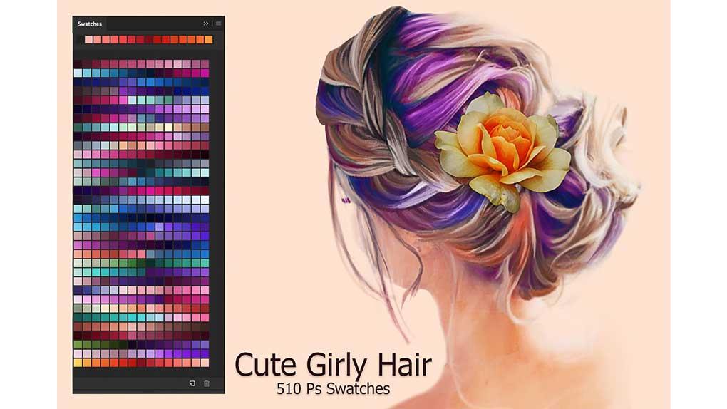 پالت رنگ Cute Girly Hair Ps Swatches
