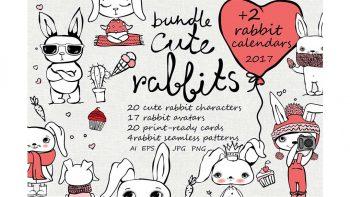 دانلود وکتور خرگوش فانتزی Cute Rabbits collection + Bonus