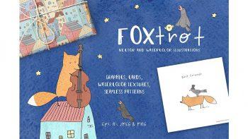 دانلود وکتور فانتزی روباه و پرنده Cute Vector & Watercolor graphics