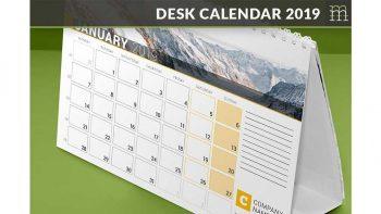 دانلود قالب ایندیزاین تقویم رومیزی Desk Calendar 2019