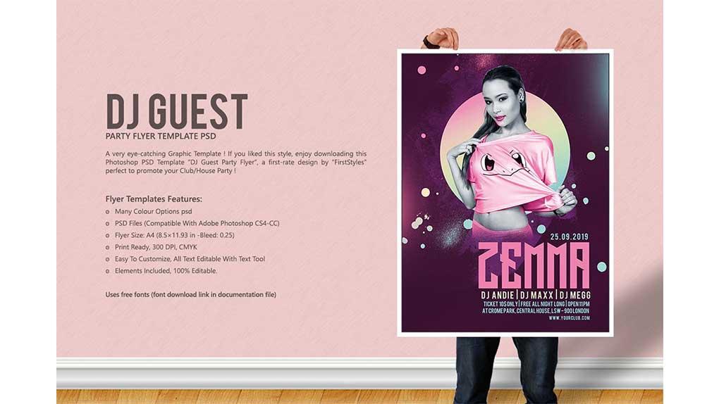 فایل لایه باز بنر DJ Guest Party Flyer Vol.2