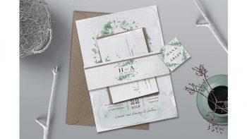 دانلود فایل لایه باز کارت دعوت عروسی Eucalyptus Wedding Invitation Suite