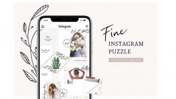 دانلود فایل لایه باز پست پازلی اینستاگرام Fine Instagram Puzzle Template