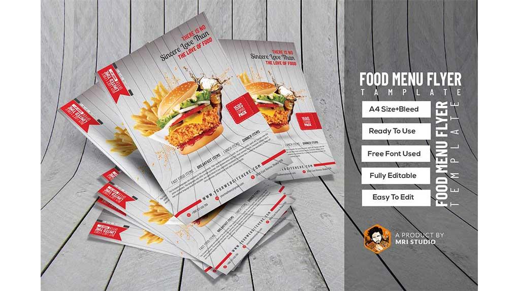 فایل لایه باز تراکت فست فود Food Flyer