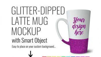 دانلود موکاپ ماگ Glitter Latte Mug Product Mock up