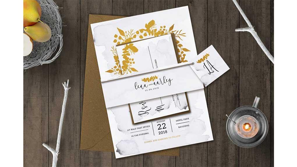 فایل لایه باز کارت دعوت عروسی Golden Foliage Wedding Invitation